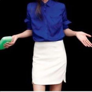 J. Crew Ivory Wool Shirt-Tail Mini Skirt, Size 2